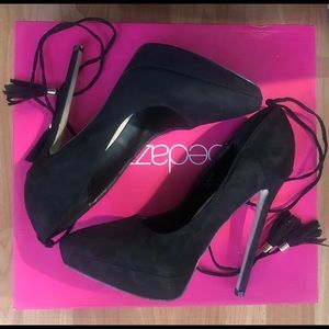Black Pointed Lace up Stilettos